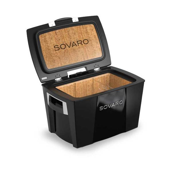Sovaro 70 Quart Cooler- Black - Brushed Silver