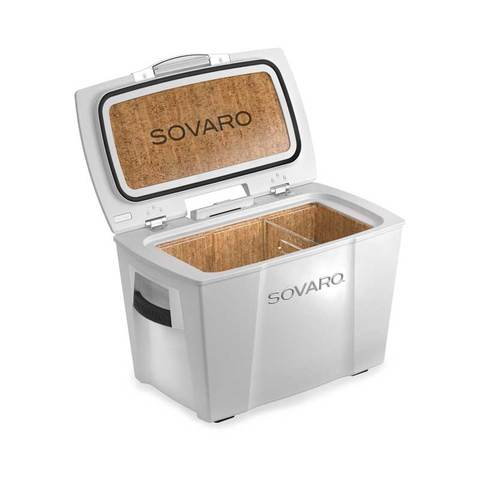 Sovaro 45 Quart Cooler- White - Brushed Silver