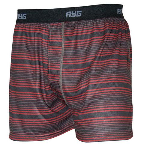 AYG Men's Performance Boxer-Cranberry Stripe