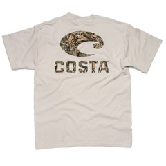 Costa Retro SS  T-Shirt - Max 5 Camo Logo Tan
