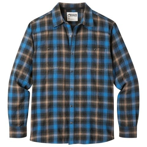 Men's Mountain Khaki Saloon Flannel Shirt - Black Plaid